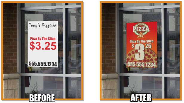 Storefront using MakeSigns.com for their company's window signs.