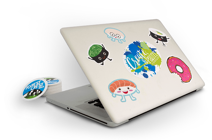 Stickers on a Laptop