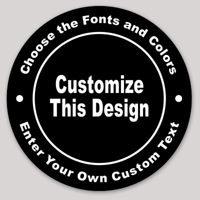 Black Circle Sticker With Curved Text