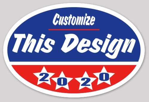 Oval sticker about patriotic political stars election candidate vote oval makestickers com