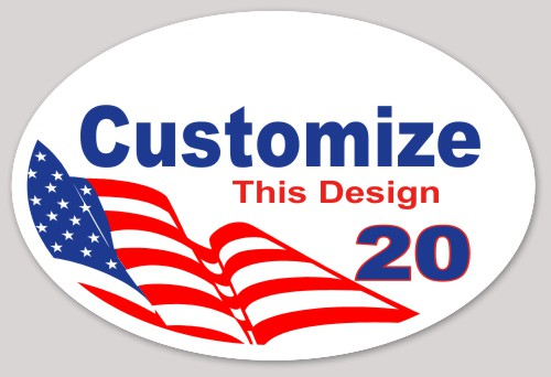 Oval sticker about politics political american flag usa stars election vote strips makestickers com